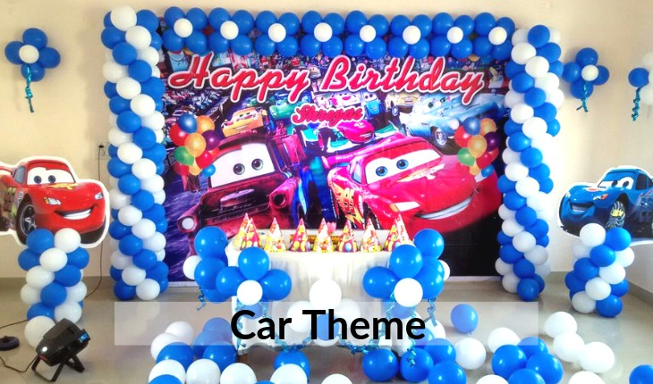 Birthday Party decorations of car in Delhi